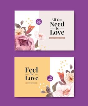 Modello di facebook con amore che fiorisce concept design per i social media e l'illustrazione dell'acquerello della comunità online