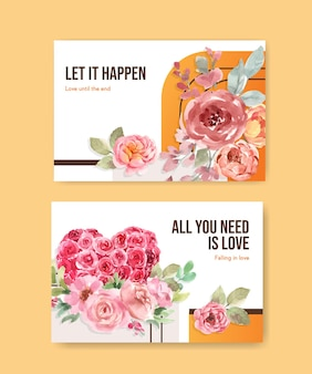 Facebook template with love blooming concept design for social media and online community watercolor illustration
