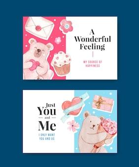 ソーシャルメディアとコミュニティの水彩イラストのコンセプトを愛するfacebookテンプレート