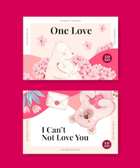 Facebook template with loving you concept for social media and community watercolor illustration
