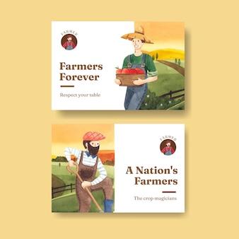 全国農民の日のコンセプト、水彩スタイルのfacebookテンプレート