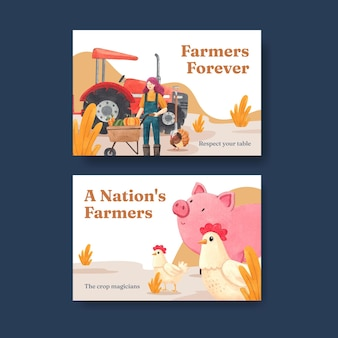 Facebook template with national farmers day concept,watercolor style