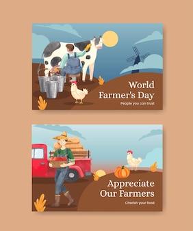 국가 농민의 날 개념, 수채화 스타일이 있는 facebook 템플릿