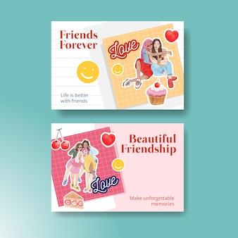 Modello di facebook con il concetto di giornata nazionale dell'amicizia,stile acquerello