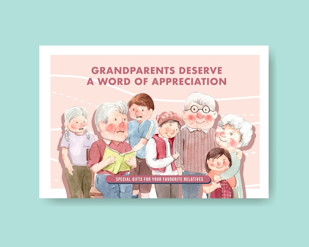 Facebook template with national grandparents day concept design for social media