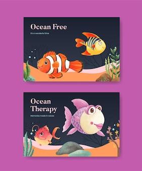 Шаблон facebook с концепцией восторга океана