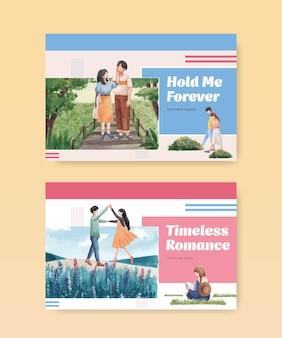 Шаблон facebook с концептуальным дизайном райской любви для социальных сетей и акварельной иллюстрацией онлайн-маркетинга