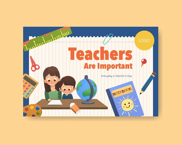 Facebook template with teacher's day concept design