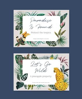 ソーシャルメディアとオンラインマーケティングの水彩イラストのための熱帯の現代的なコンセプトデザインのfacebookテンプレート