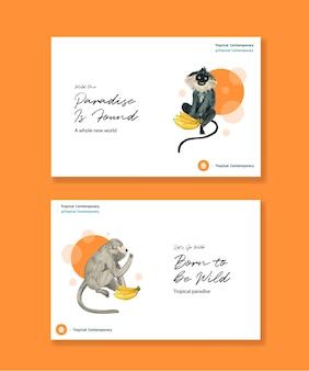 Шаблон facebook с тропическим современным концептуальным дизайном для социальных сетей и акварельной иллюстрацией онлайн-маркетинга