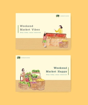 Facebook template with weekend market concept,watercolor style