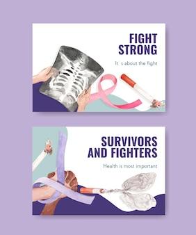 소셜 미디어 및 온라인 마케팅 수채화 벡터 일러스트 레이 션에 대 한 세계 암의 날 컨셉 디자인 페이스 북 템플릿.