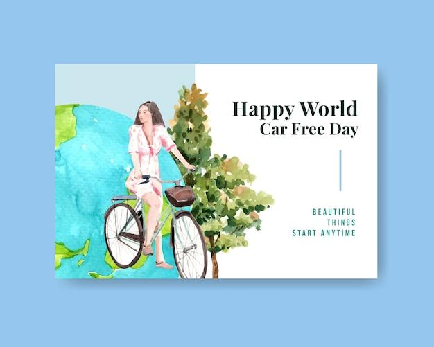 Шаблон facebook с концептуальным дизайном всемирного дня без автомобиля для социальных сетей и интернет-акварель.