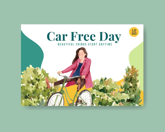 Facebook template with world car free day concept design for social media and internet watercolor.