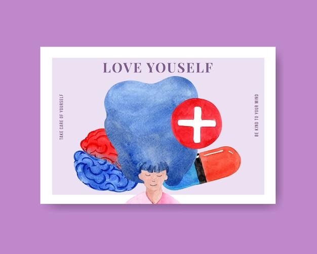 Шаблон facebook с концептуальным дизайном всемирного дня психического здоровья для социальных сетей и акварельной векторной иллюстрацией интернет-маркетинга.