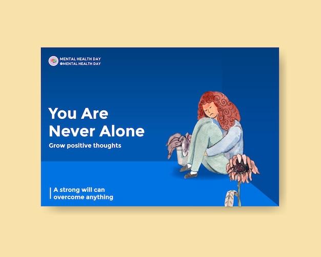 ソーシャルメディアとオンラインマーケティングの水彩ベクトルイラストによる世界精神保健デーのコンセプトデザインのfacebookテンプレート。