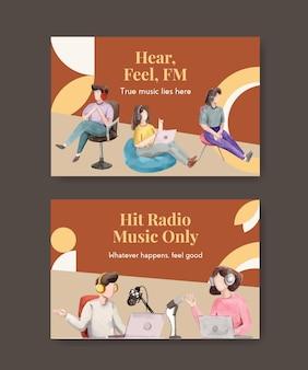 소셜 미디어 및 커뮤니티 수채화 일러스트를위한 세계 라디오의 날 컨셉 디자인 페이스 북 템플릿
