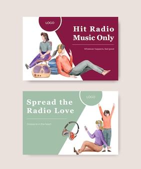 ソーシャルメディアとコミュニティの水彩イラストの世界ラジオデーのコンセプトデザインのfacebookテンプレート