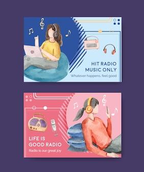 Шаблон facebook с концептуальным дизайном всемирного дня радио для социальных сетей и акварельной иллюстрацией сообщества