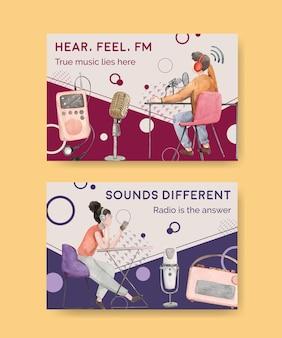 Modello di facebook con concept design della giornata mondiale della radio per i social media e l'illustrazione dell'acquerello della comunità