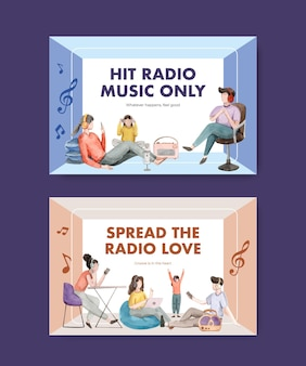 Facebook template with world radio day concept design for social media and community watercolor illustration
