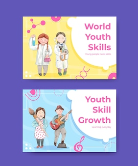 Facebook templates set with world youth skills day concept, watercolor style
