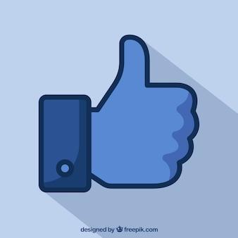 Facebook большой палец вверх, как фон в плоском стиле