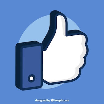 Facebook thumb up like background in flat style