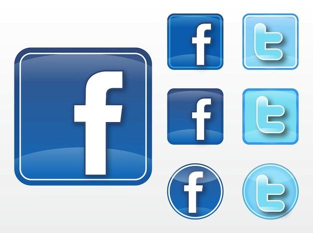 Facebook twitter communication  vectors