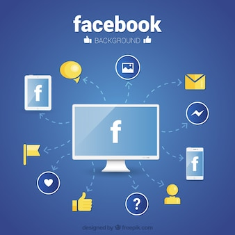 Facebook wallpaper with icons in flat design