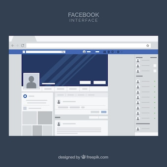 Веб-интерфейс facebook с минималистским дизайном