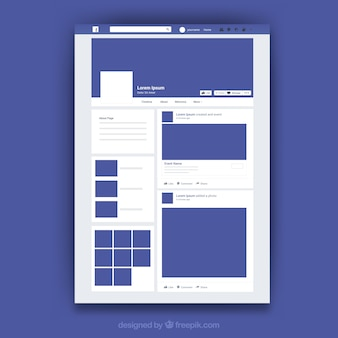 Interfaccia web di facebook con design minimalista