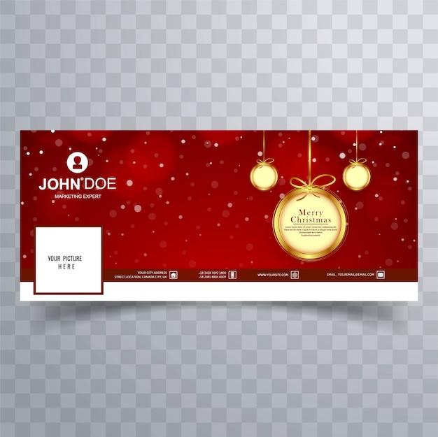 Facebookのバナーのテンプレートデザインとメリークリスマスボール