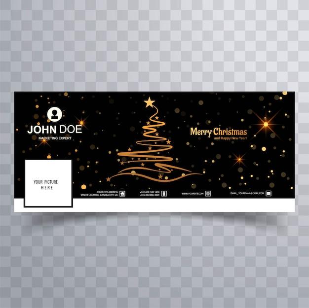 Счастливого рождества дерево с facebook баннер красочный шаблон