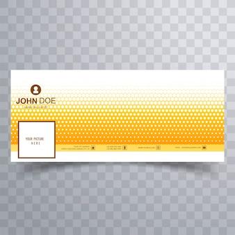 タイムラインデザインのモダンな黄色の点線facebookカバー