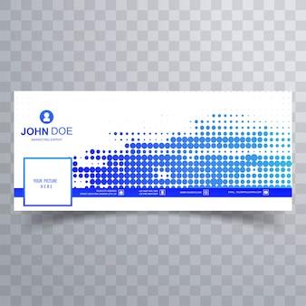 タイムラインデザインのモダンな青い点線のfacebookカバー