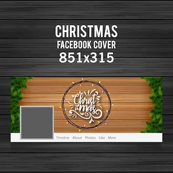 Рождественская обложка facebook, включая типографию, провода, луковицы и травы на деревянном фоне
