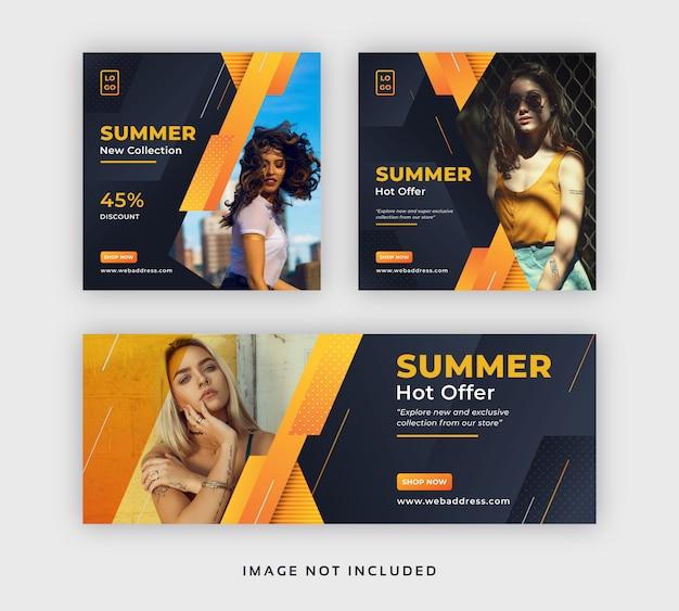 夏のファッションセールソーシャルメディアの投稿とfacebookのカバーテンプレート