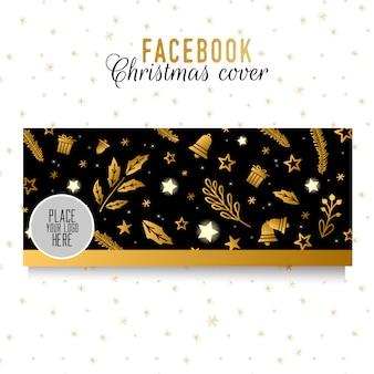 Facebookのクリスマスカバーテンプレート。黒の背景に黄金の要素。丈夫なデザイン