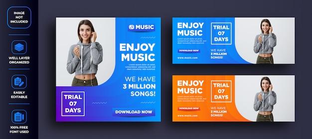 音楽を楽しむについての抽象的な創造的なソーシャルメディアの投稿とfacebookのバナーデザイン