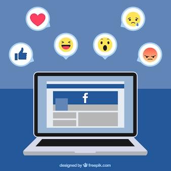 Ноутбук фон с facebook и иконки