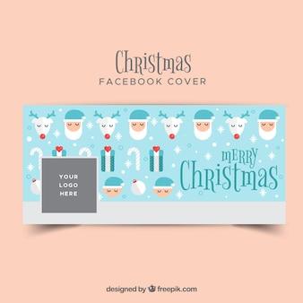 Голубая рождественская обложка для facebook