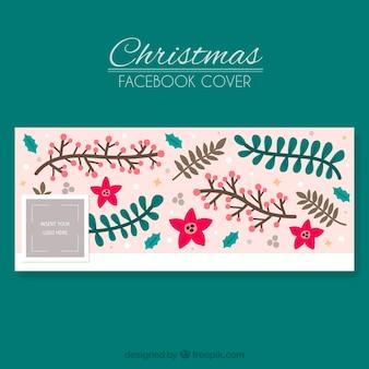 Розовая обложка facebook в рождественской теме