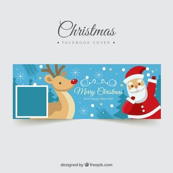 Facebook обложка с санта-клаусом и оленей