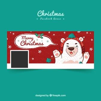 Рисованная рождественская обложка facebook с милым медведем