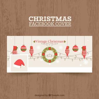Обложка facebook с рождественскими украшениями
