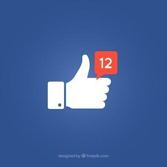 Facebook с фоном с уведомлением