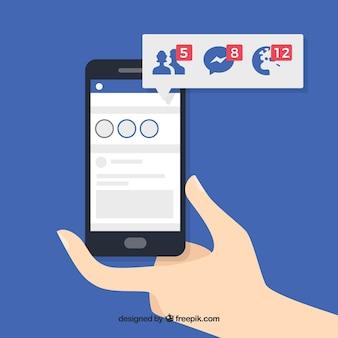 Ручной телефон с уведомлениями в facebook