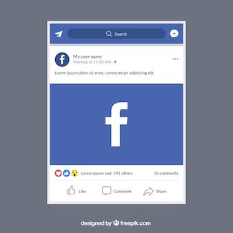 Мобильный пост facebook с плоским дизайном