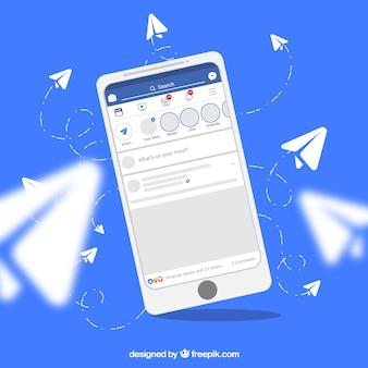 Плоский мобильный телефон с уведомлениями facebook